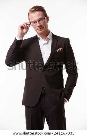 businessman in glasses with smiling - stock photo