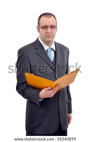 Businessman in gray suite holding a yellow folder