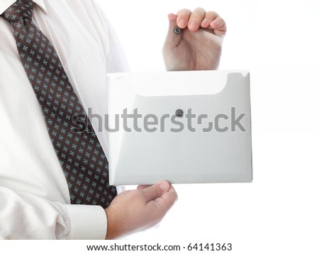 businessman in grey with folder, isolated on white - stock photo