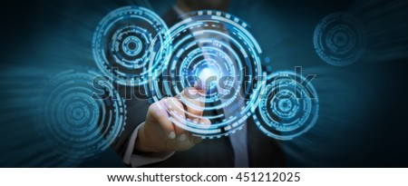 Businessman in his office pushing digital tactile circle technology screens '3D rendering' - stock photo