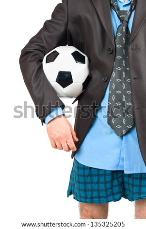 Businessman in his underwear with a soccer ball on white - stock photo
