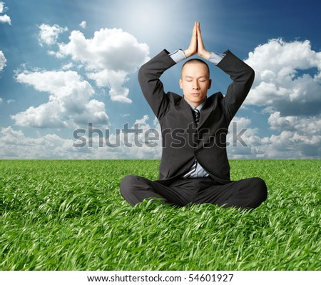 businessman in lotus pose in green grass on blue summer sky - stock photo