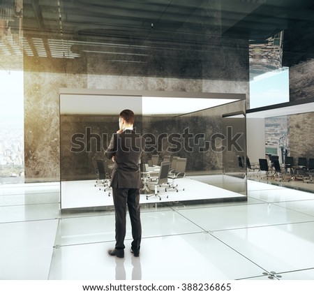 Businessman in luxury office with conference room, 3D Render