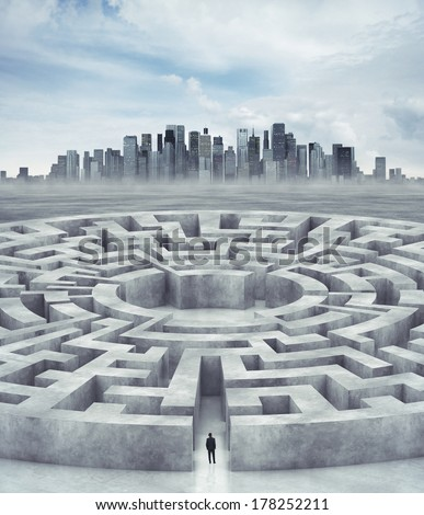 Businessman in maze and city on horizon - stock photo