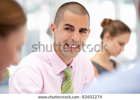 Businessman in meeting - stock photo