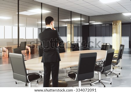 Businessman in modern conference office with furniture 3D Render - stock photo