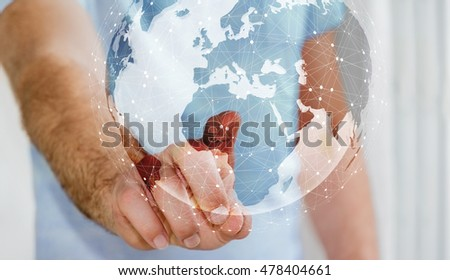 Businessman in office touching digital tactile world interface with his finger 3D rendering