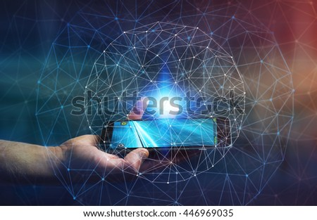Businessman in office using digital data network with his mobile phone '3D rendering' - stock photo