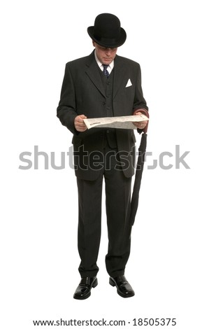 Businessman in pinstripe suit and traditional bowler hat with umbrella reading the financial newspaper - stock photo