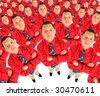 Businessman in  red shirt with his hands crossed semicircle collage - stock photo