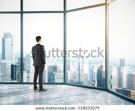 Businessman in room with city view. Success concept. 3D Rendering