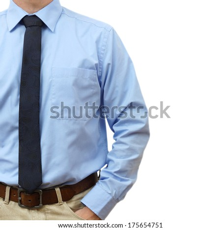 businessman in shirt with tie and jeans with hand in pocket on a white background - stock photo