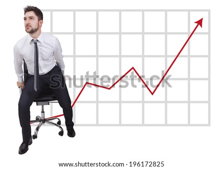 businessman in start up on trend with red arrow - stock photo