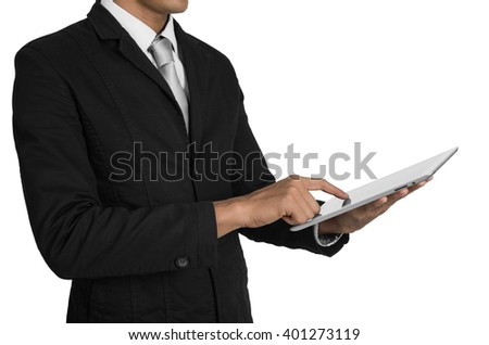 Businessman in suit and digital tablet isolated on white with clipping path.