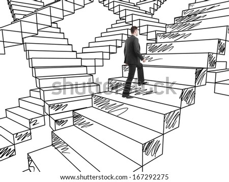 businessman in suit climbing on drawing stairs - stock photo