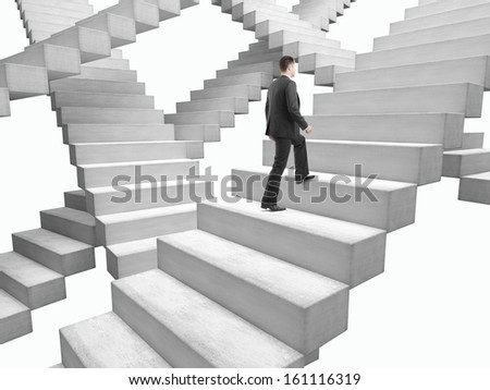 businessman in suit climbing stairs in bad weather - stock photo