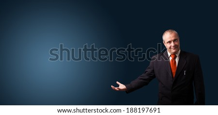 businessman in suit gesturing with copy space