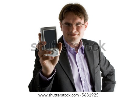 Businessman in suit holding up his PDA to the camera.