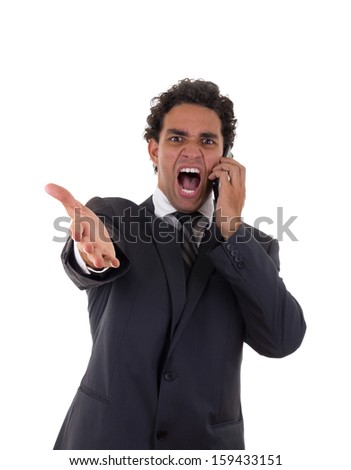 businessman in suit is furious and mad about the job - stock photo