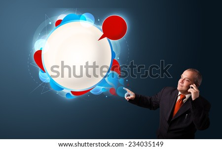 businessman in suit making phone call and presenting abstract modern speech bubble with copy space - stock photo