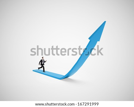 businessman in suit  running on blue arrow