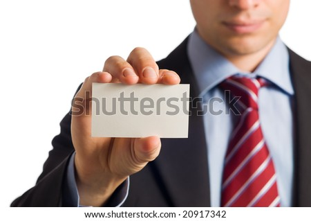 Businessman in suit showing his empty business card with copy space to write it one your own text - stock photo
