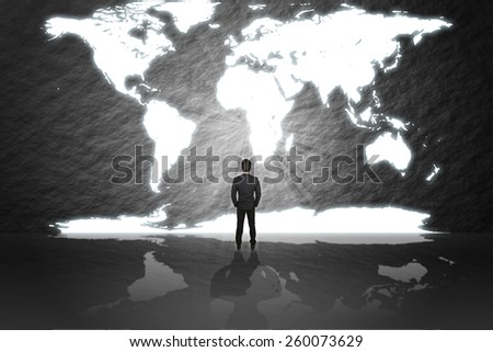Businessman in suit stand and looking aim the gate(door) success social network in the world to money sign isolated cement abstract background. - stock photo