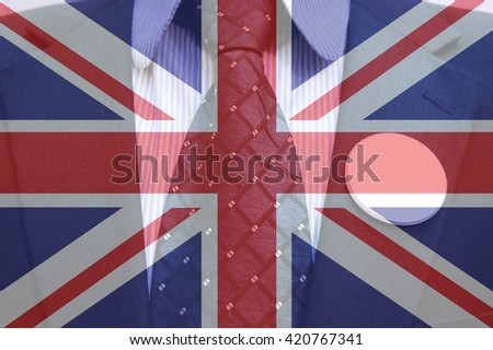 Businessman in suit with blank badges and british flag, concept of Brexit referendum - stock photo