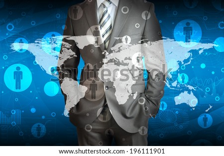 Businessman in suit with contacts. The concept of global contacts