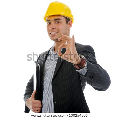 Businessman in the construction helmet with documents . Isolated on white background - stock photo