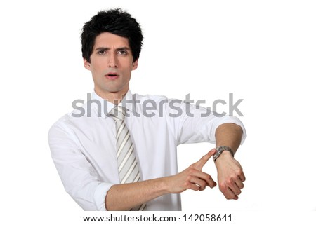 Businessman in the hurry. - stock photo