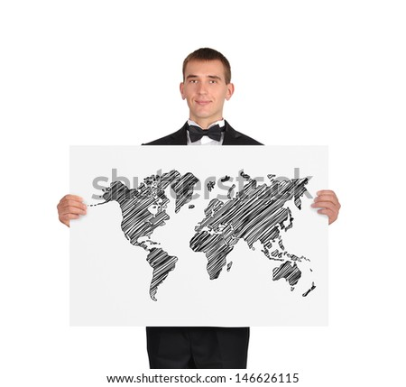 businessman in tuxedo holding poster with world map - stock photo