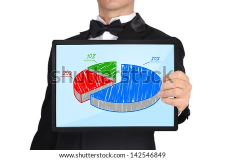 businessman in tuxedo holding tablet with business chart - stock photo