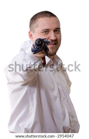businessman in white shirt holding umbrella like a gun - stock photo