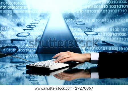 businessman input data - stock photo