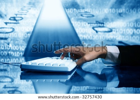 businessman input data - stock photo