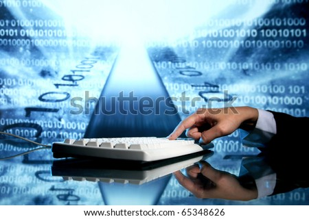 businessman input data information on keyboard - stock photo