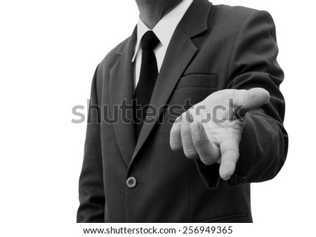 businessman invited hand isolated black and white - stock photo