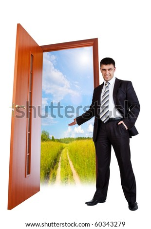 businessman invites you to summer - stock photo