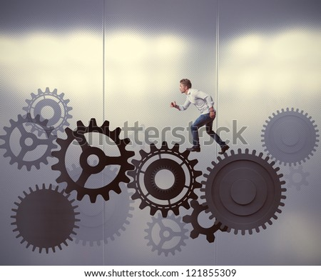 Businessman is a part of the system - stock photo