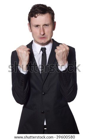 businessman is angry and showing his fists