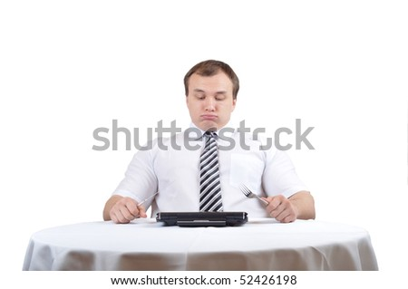 Businessman is blowing after lunch over table with notebook, isolate white background.