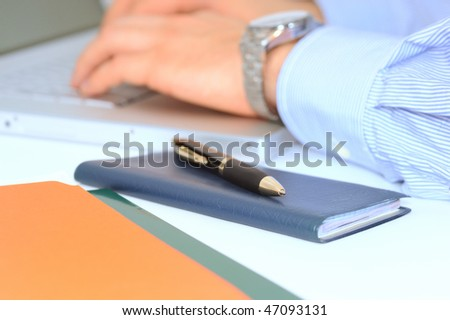 Businessman is checking banking transactions online - stock photo