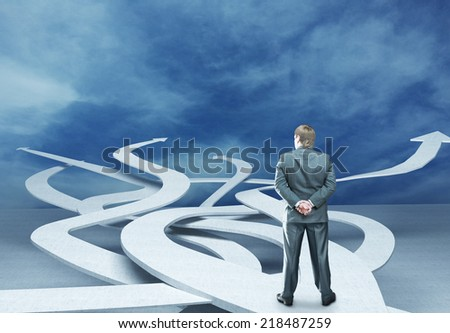 Businessman is choosing right way - stock photo