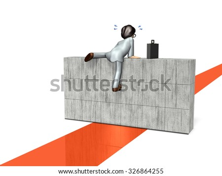 Businessman is climbing the wall. It express overcome. - stock photo