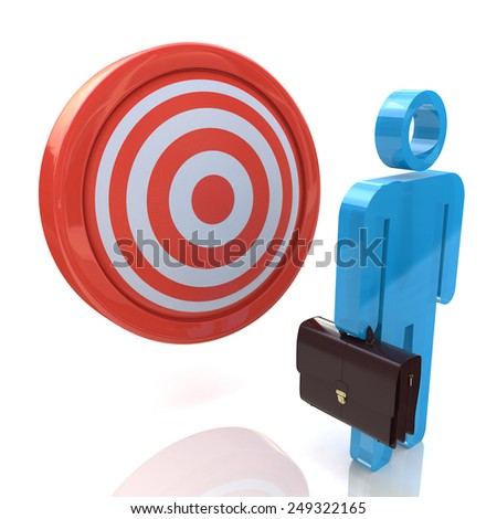Businessman is committed to the goal  - stock photo