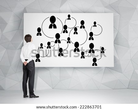 Businessman is developing social media system, network connections.