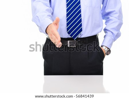 Businessman is giving a handshake