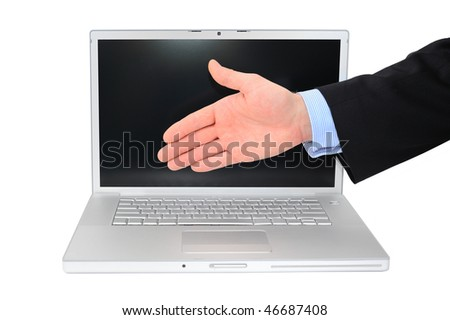 Businessman is giving a handshake in front of modern technologies isolated over white - stock photo