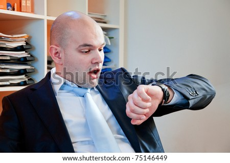 Businessman is going to late on the meeting - stock photo